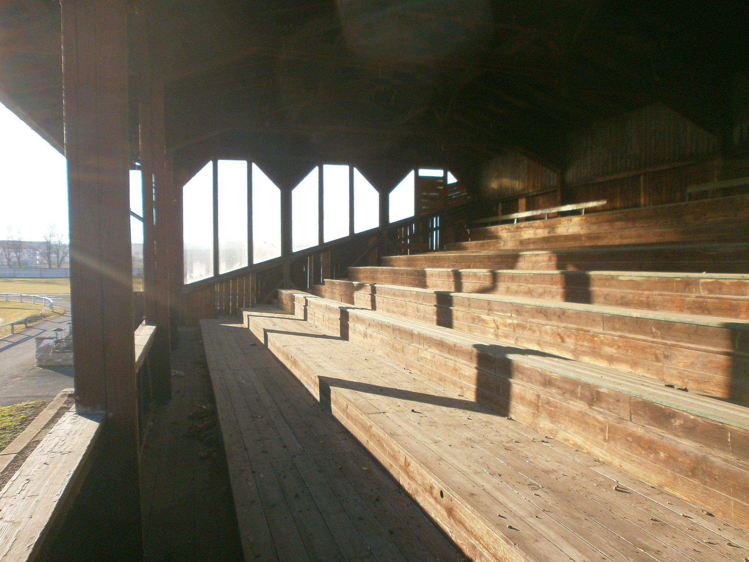 Auf der Holztribüne der Brauchitsch-Kampfbahn